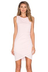 Bobi Supreme Jersey Crossover Ruched Dress Pink