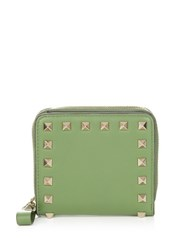 Valentino Rockstud Leather Wallet Green