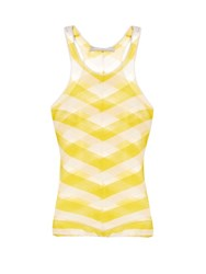 Stella Mccartney Checked Sheer Knit Tank Top Yellow Stripe