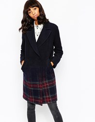 Asos Coat In Ombre Check Multi