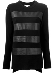 Michael Michael Kors Leather Stripe Sweatshirt Black