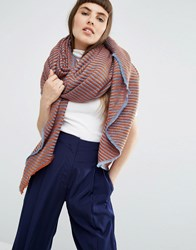 Asos Lighweight Oversized Square Scarf In 2 Tone Twill Multi