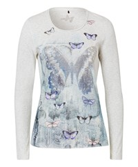 Olsen Butterfly Printed T Shirt Silver