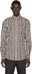 Dolce And Gabbana Brown And White Striped Shirt