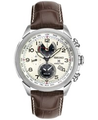 Seiko Men's Solar Chronograph Prospex Brown Leather Strap Watch 42Mm Ssc509