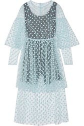 Paskal Polka Dot Flocked Tulle Midi Dress Sky Blue