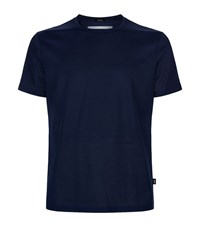 Boss Pique Cotton T Shirt Male Navy