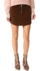 Aeron Velvet Zip Miniskirt Brown