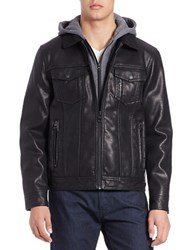 Guess Bibbed Faux Leather Jacket Black