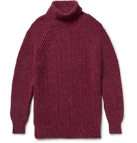 Inis Meain Ini Melange Merino Wool And Cahmere Blend Rollneck Weater Claret