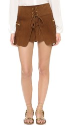 Pam And Gela Suede Skirt Rust