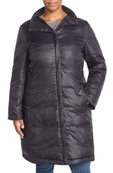 Eileen Fisher Stand Collar Down Puffer Jacket Plus Size Black