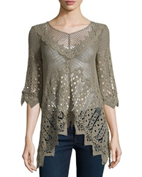 Xcvi Sheer Cutaway Hem Top Oregano