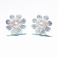'Forget Me Not' By Houghton Davies Jewellery Handmade Sterling Silver And Freshwater Pearl Daisy Stud Earrings