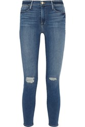 Frame Le High Skinny Distressed Jeans Dark Denim