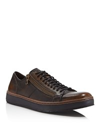 John Varvatos Star Usa Barrett Creeper Zip Low Top Sneakers Walnut
