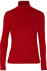 Y 3 Stretch Knit Turtleneck Sweater And Mittens Set Red
