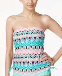 Hula Honey Kaleidoscope Printed Strapless Tankini Top Women's Swimsuit Blue Multi