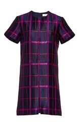 Carven Checked Short Sleeve Dress Navy