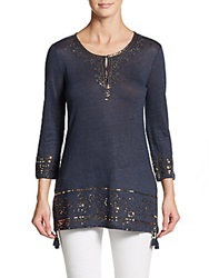Saks Fifth Avenue Blue Linen Sequined Tunic Navy Gold