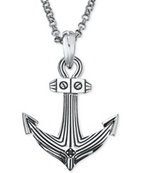Esquire Men's Jewelry Diamond Accent Anchor Pendant Necklace In Sterling Silver First At Macy's