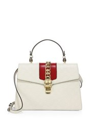 Gucci Sylvie Medium Gg Leather Top Handle Satchel White