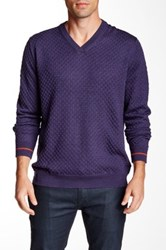Robert Graham Bagley Textured Knit V Neck Sweater Purple