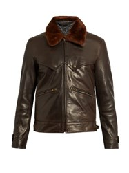 Acne Studios Arthur Leather And Shearling Coat Dark Brown