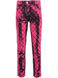Moschino Quilted Effect Trousers Pink And Purple