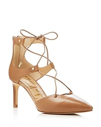 Sam Edelman Taylor Leather Pointed Toe Lace Up Pumps Golden Caramel