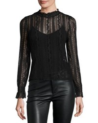 Romeo And Juliet Couture Sheer Stretch Lace Long Sleeve Top Black