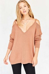 Kimchi And Blue Kia Deep V Cold Shoulder Sweater Brown