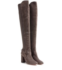 Aquazzura Dasha 85 Suede And Fabric Over The Knee Boots Grey