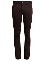 John Varvatos Straight Leg Stretch Cotton Trousers Burgundy