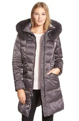 1 Madison Women's Down And Feather Fill Coat With Genuine Fox Fur Gunmetal