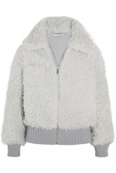 Vika Gazinskaya Alpaca And Mohair Blend Bomber Jacket Light Gray