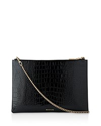 Whistles Rivington Shiny Croc Embossed Clutch Black