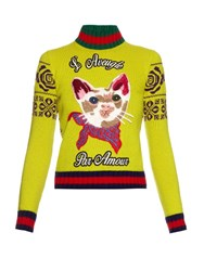 Gucci Cat Applique Wool Sweater Yellow