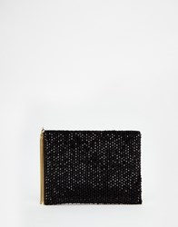 Reiss Cindy All Over Beaded Clutch Bag In Black