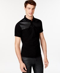 Guess Faux Crocodile Panel Polo Jet Black