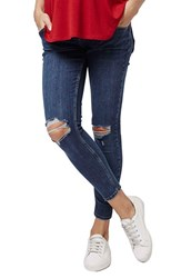 Women's Topshop 'Jamie' Ripped Crop Skinny Maternity Jeans Light Denim