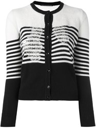 Ermanno Scervino Colour Block Striped Cardigan White