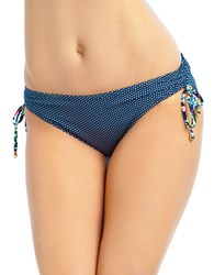 Anne Cole Digital Dot Alex Floral Side Tie Bikini Bottom Blue