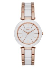 Dkny Rose Goldtone Stainless Steel And Ceramic Watch White