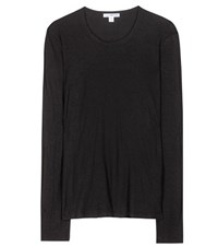 James Perse Long Sleeved Cotton Top Black