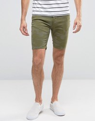 Hoxton Denim Shorts Khaki Camo Green