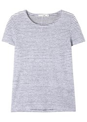 Rag And Bone Summer Striped Linen Blend T Shirt Black And White
