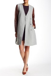 Theory Quennel Leather Sleeve Wool Blend Coat Gray