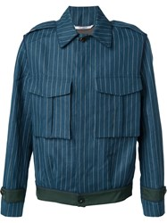 Umit Benan Pinstriped Cargo Jacket Blue