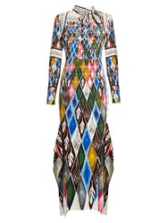 Peter Pilotto Argyle Print Long Sleeved Maxi Dress Multi